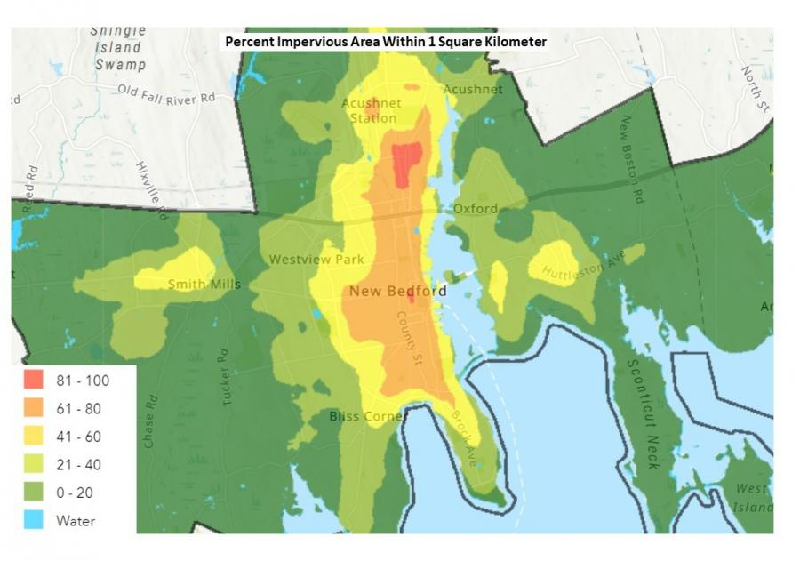 A map of New Bedford that shows the percent of impervious surface area throughout New Bedford. The most impervious area of New Bedford in the north end of New Bedford