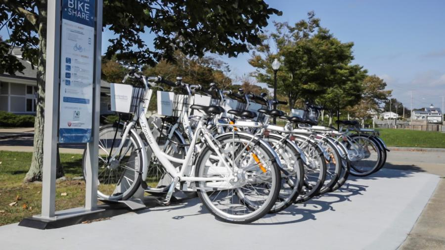 A picture of a bikeshare rack in New Bedford