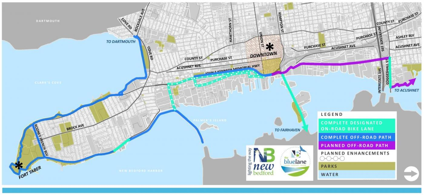 """This is a map of New Bedford that highlights """"the blue lane,"""" which includes a set of on- and off-road bike lanes that surround New Bedford Harbor."""