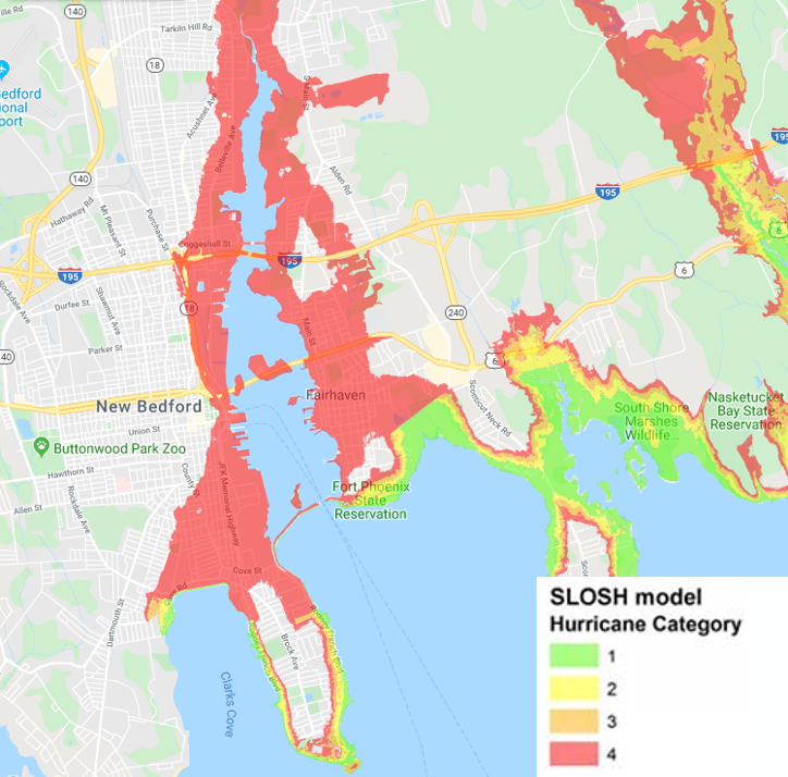 A map of the SLOSH model, which estimates storm surge heights, laid over New Bedford. The map indicates that the regions of Clarks Cove, Fort Phoenix Reservation, and the South Shore Marshes will experience inundation from a category 1 hurricane. Much of New Bedford will be inundated by a category 4 hurricane.