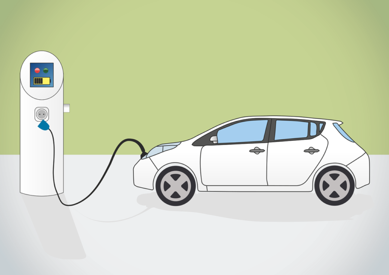 White electric vehicle plugged into white electric charging port against green background