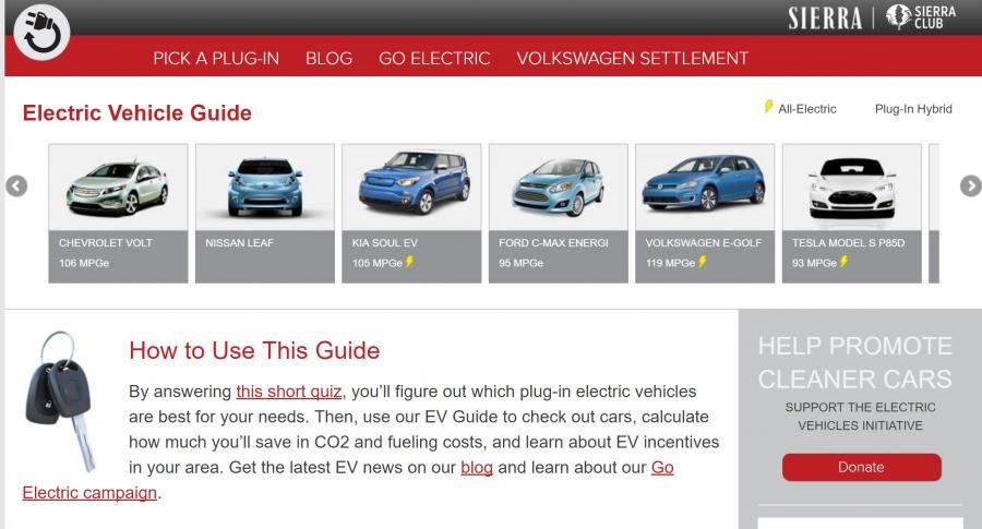 Screenshot of a website with a guide to purchasing electric vehicles