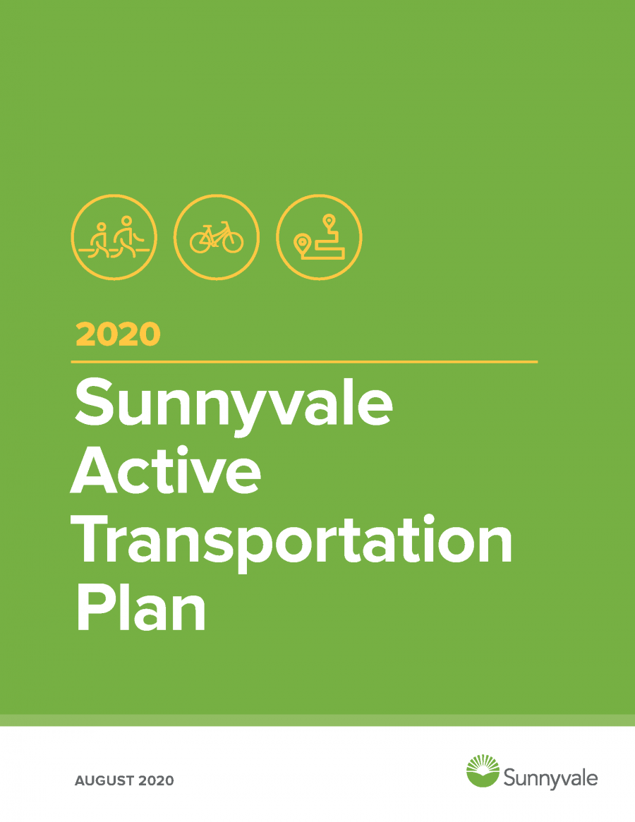 Report cover of the 2020 Sunnyvale Active Transportation Plan with 3 icons at the top. The first is two people walking, the second is a bike, and the third is a depiction of a pathway with a start and end icon.
